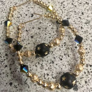 Large gold filled beaded earrings